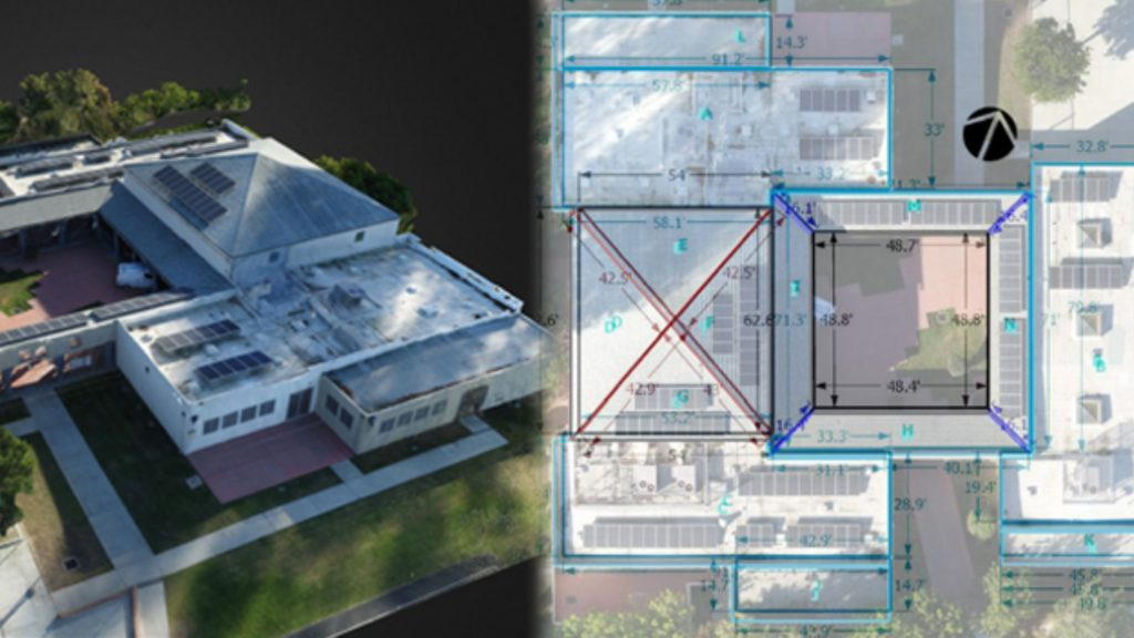 aerial view of a large building next to its computer generated measurements retrieved from drone data