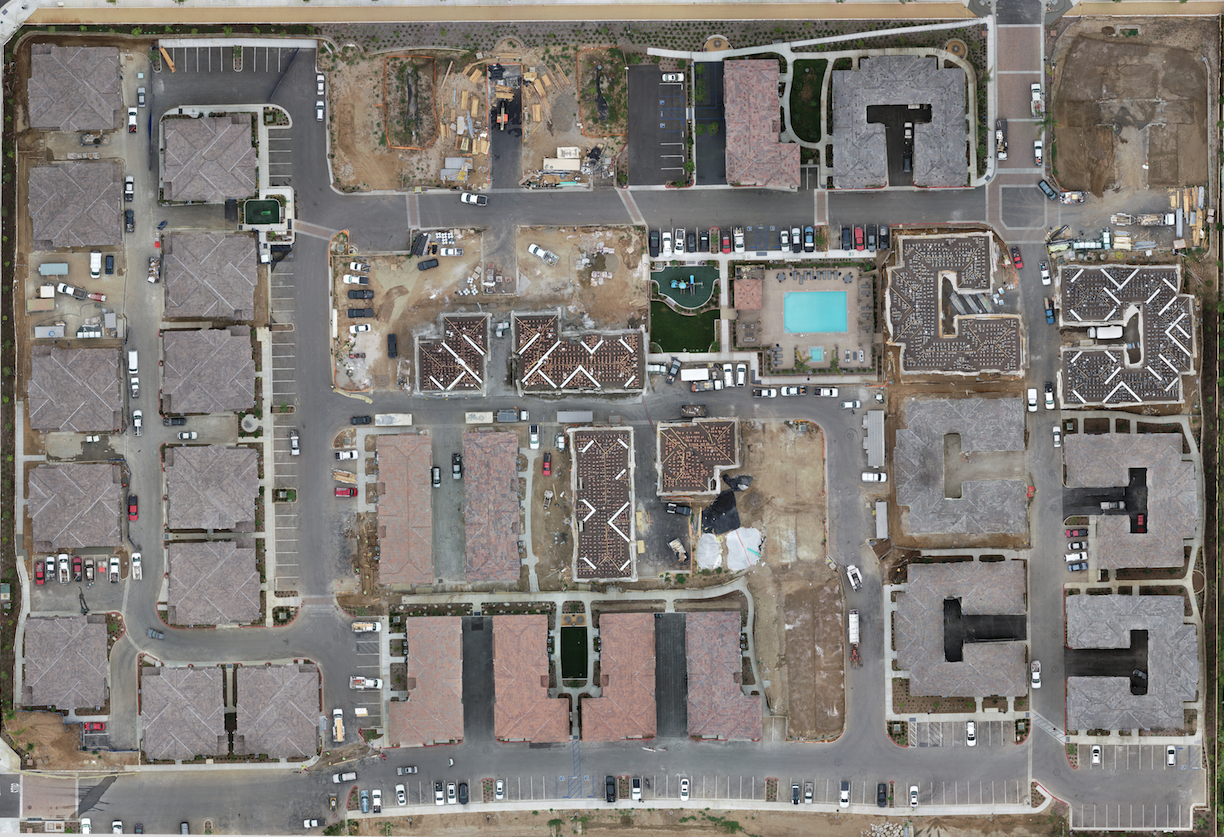 birds eye view of a residential community under construction