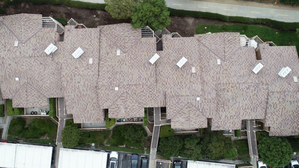 still of a roof finish inspection safely completed with the use of a drone